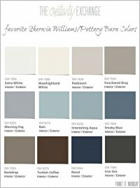 Favorite Pottery Barn paint colors from Sherwin Williams ...