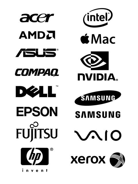 Free Logo Vector Brands Acer, Intel, AMD, Apple Mac, Asus