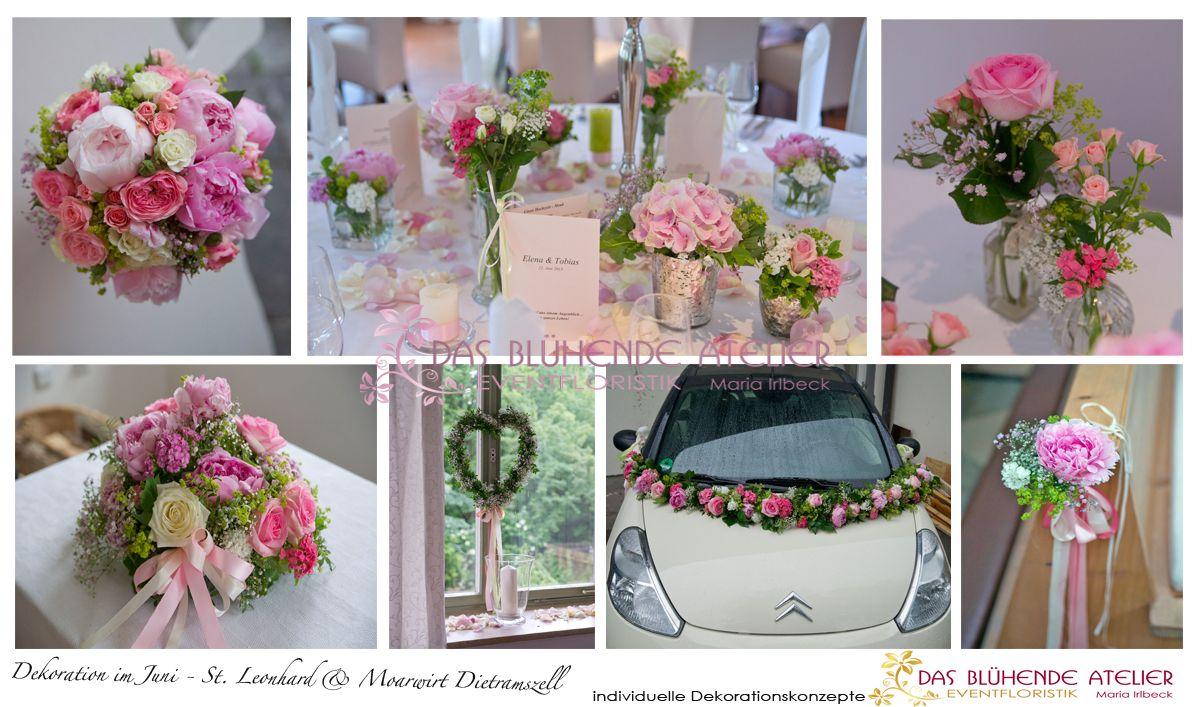Hochzeitsdeko in rosa tnen creme hellgrn aus