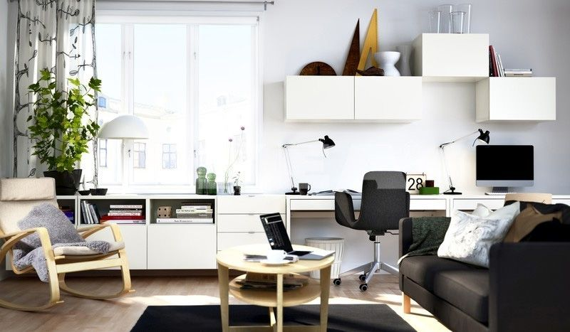 Modern Black And White IKEA Themed Home Office Design With White