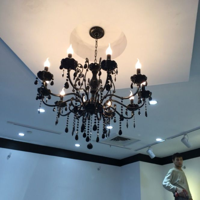 Modern Black Crystal Chandelier With Pendants Wrought Iron Chandeliers 10 Lights Led Bedroom