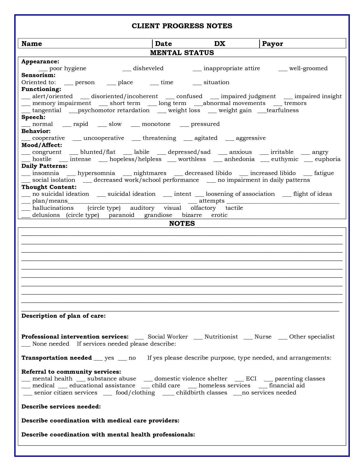 Therapy Progress Notes Template