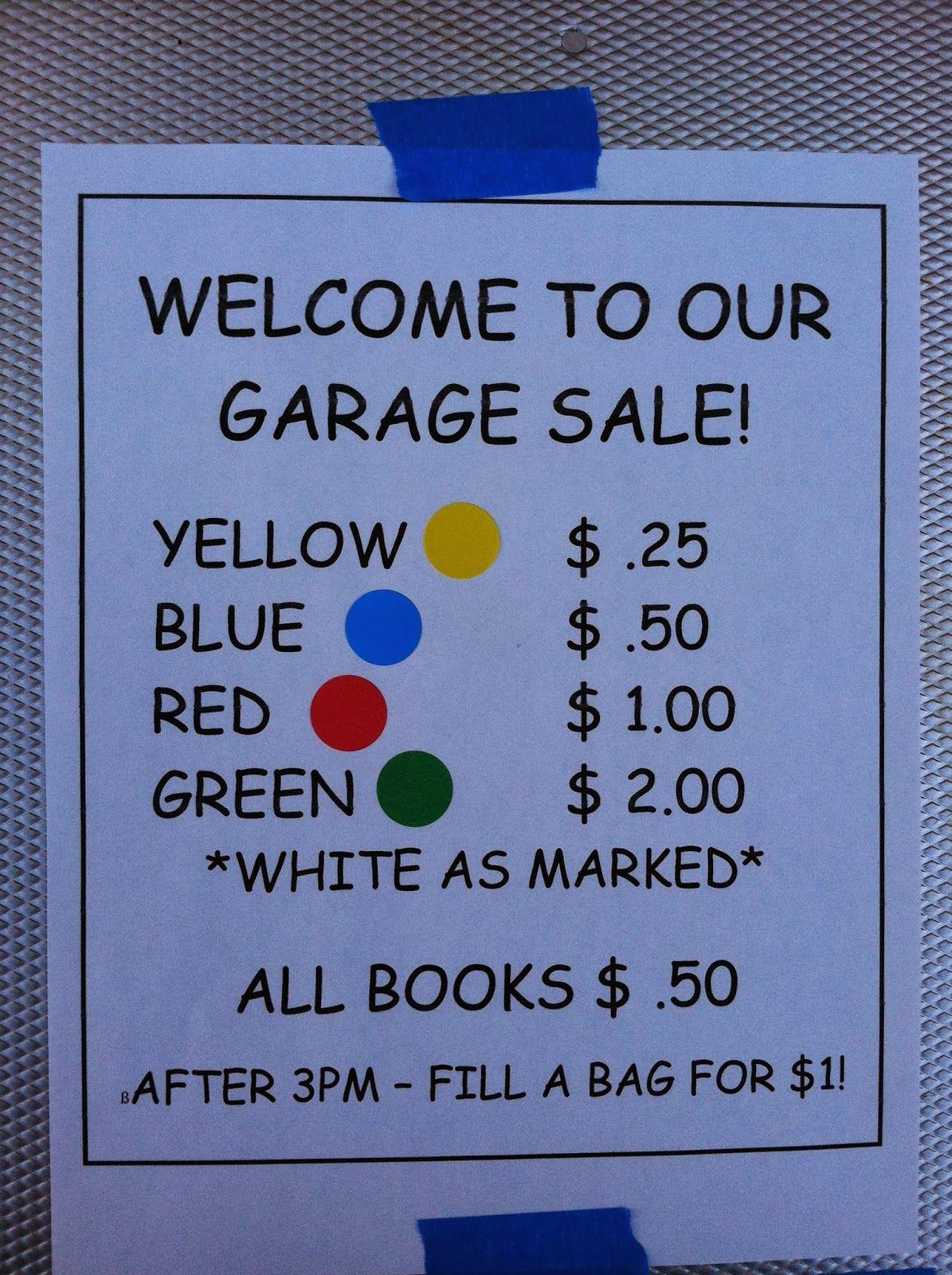garage sale tags template