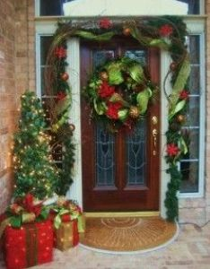 Bow around the planter for tomato cage trees christmas stuff pinterest planters front porches and also rh