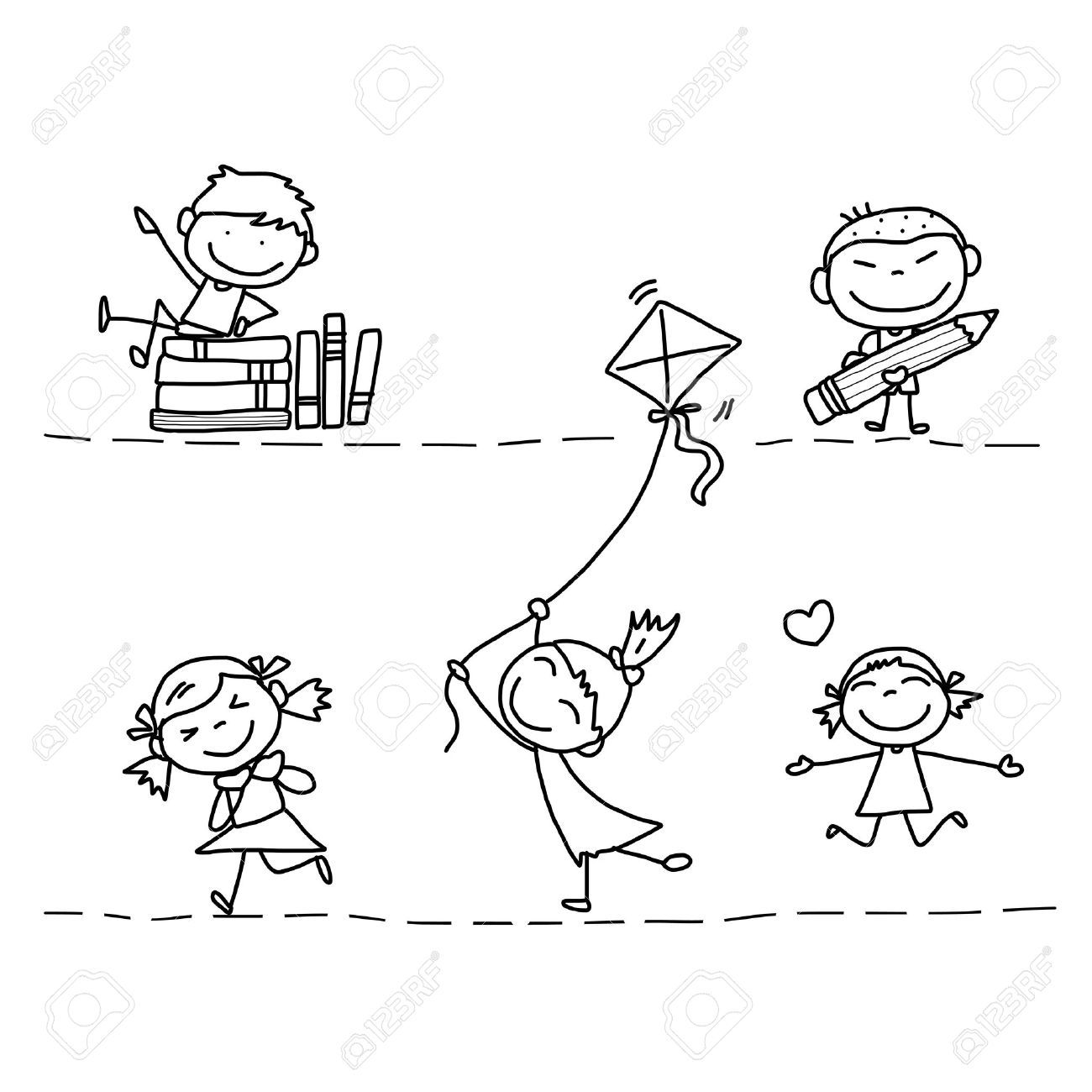 Set Of Hand Drawing Cartoon Happy Kids Playing Royalty