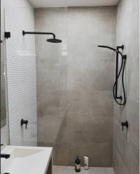 black tapware, concrete bathroom, concrete look bathroom ...
