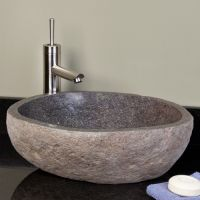 Dark Gray River Stone Vessel Sink