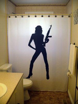 Sexy Pinup Girl Shower Curtain Gun Ak47 M16 Ar15 Bathroom Decor