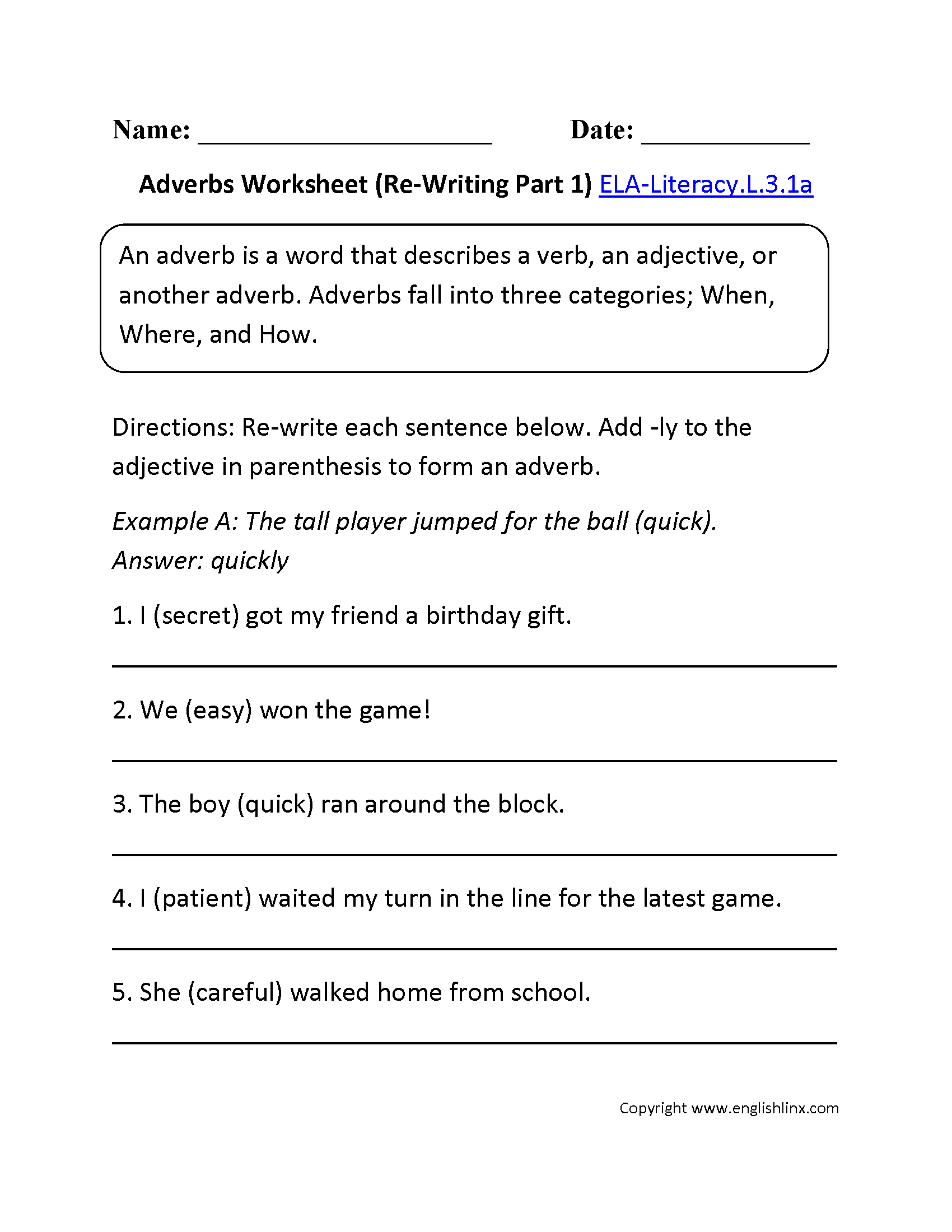 Adjectives Worksheet 1 Ela Literacy L 3 1a Language Worksheet