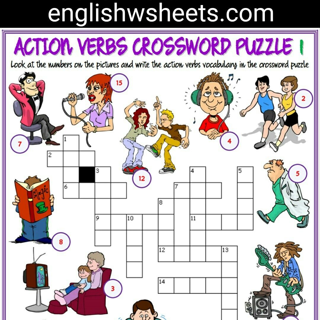 Action Verbs Esl Printable Crossword Puzzle Worksheets For