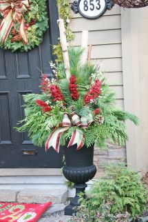 Colorful Winter Planters & Christmas Outdoor