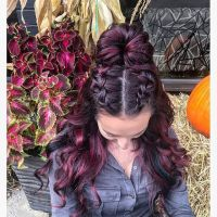 Half up-half down Two Dutch braids into a bun #braids # ...