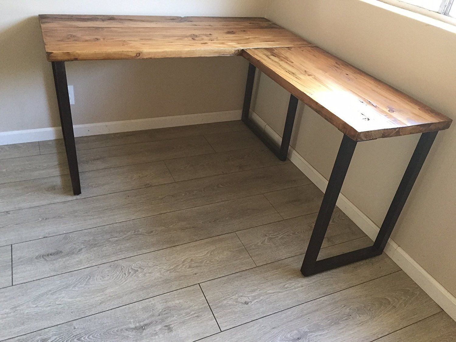 L Shaped Desk Reclaimed Wood With Metal Base For The