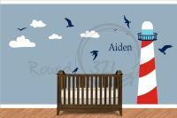 Nautical Theme Lighthouse Vinyl Wall Decal - Infant and ...