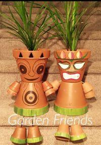 Clay Flower Pot People, Hawaiian Hula Tiki Guy, Luau Party ...