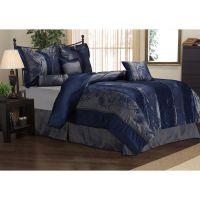 Rosemonde 7-piece Navy Blue Comforter Set | Overstock.com ...