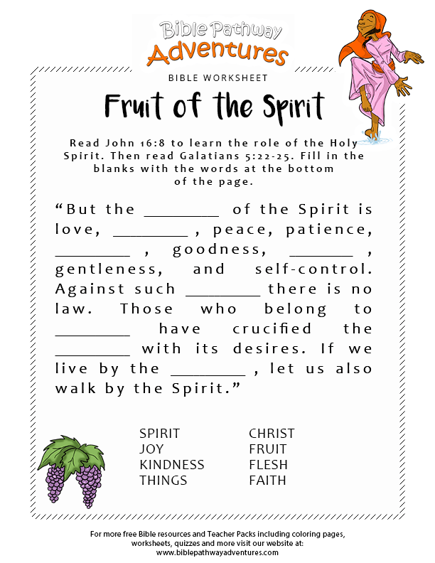 12 Fruits Holy Spirit Sunday School Printables