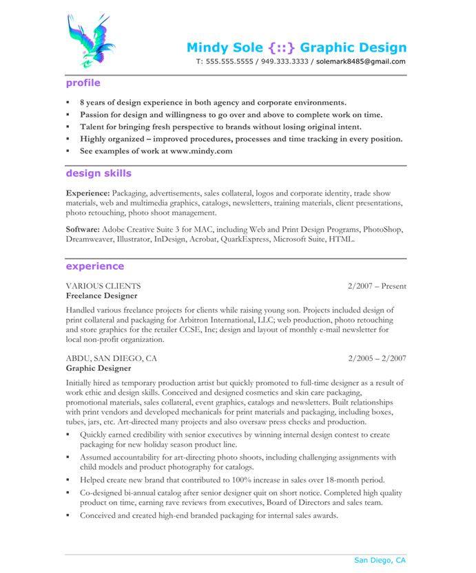 Graphic Designer Page1 Designer Resume Samples Pinterest
