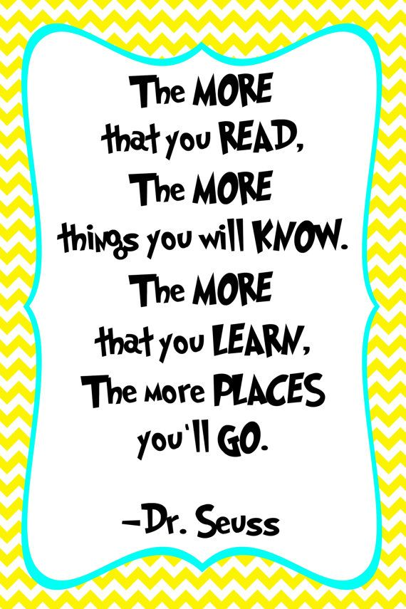 Dr Seuss Quote Print Classroom poster or nursery by