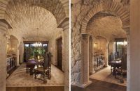 In traditional Tuscan homes the stonework is often exposed ...