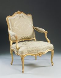 Giltwood Louis XV fauteuil (armchair) with neoclassical ...