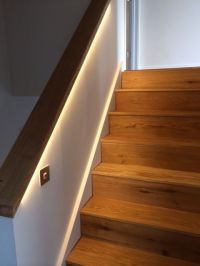 Oak staircase and handrail with custom LED strip lighting ...