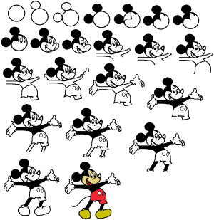 mickey mouse draw step easy drawing cartoon disney character drawings characters dessins tutorial sketches sketch reproduire facile tricks afkomstig