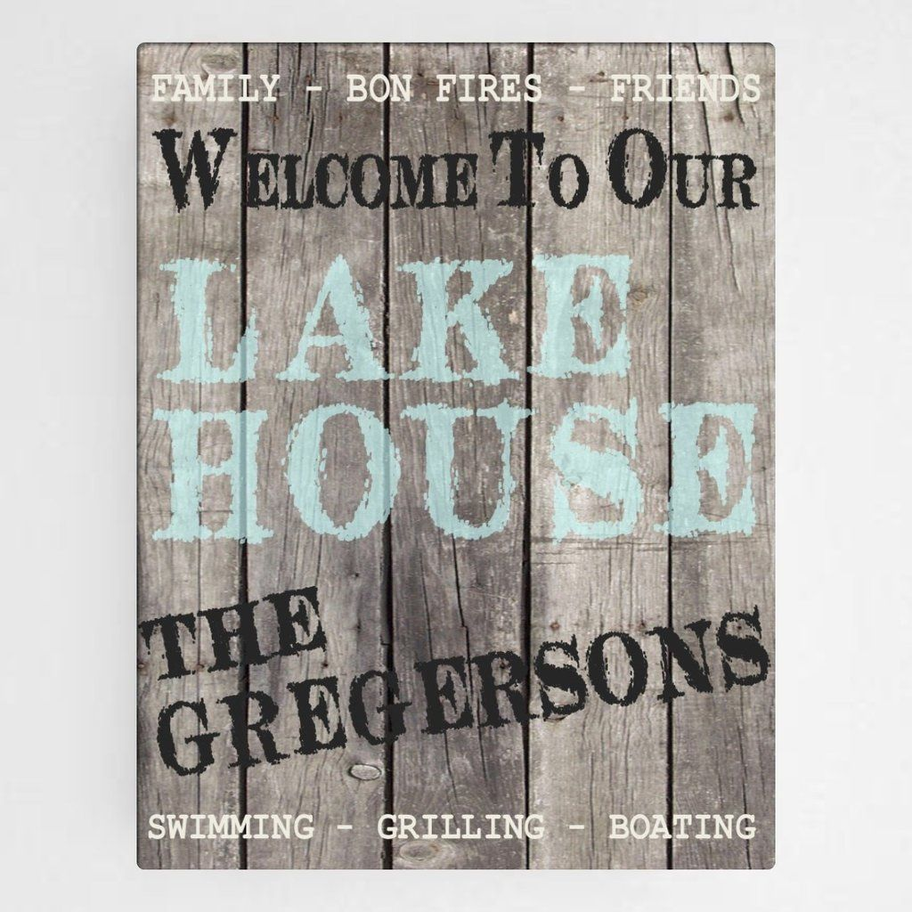 """Personalized Canvas Wood Grain """"Welcome To Our Lake House"""" Wall"""