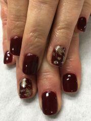 fall nails burgundy wine gold