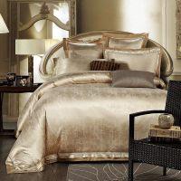 Gold/White/Blue Jacquard Silk Bedding Set Luxury 4pcs ...