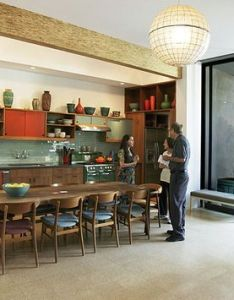 Interesting blending of mid century living space design with  kitchen and dinning room also rh pinterest