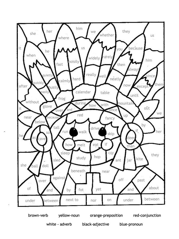 Educational coloring pages for parts of speech Paint by