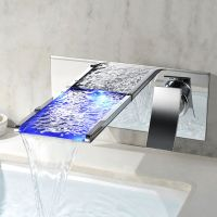 Modern LED Wall-Mounted Waterfall Bathroom Faucet Tap in ...