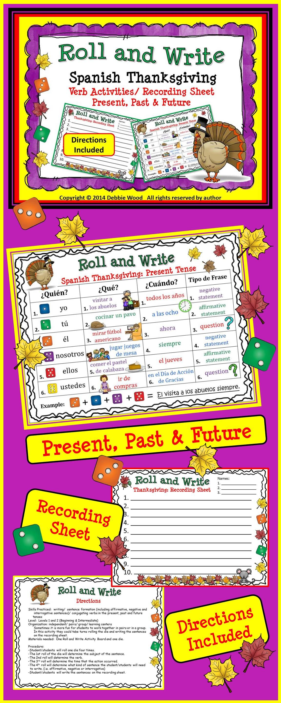 Spanish Thanksgiving Verb Activity Boards Present Past
