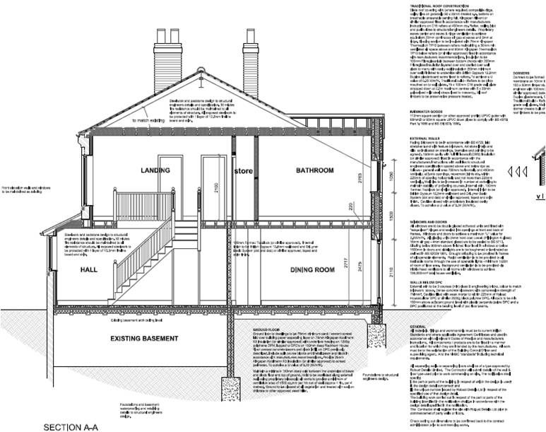construction section drawing of a house with pitched roof