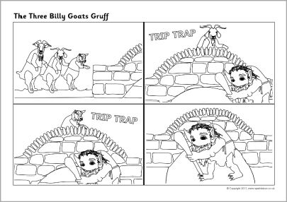 Three Billy Goats Gruff sequencing sheets (SB6312