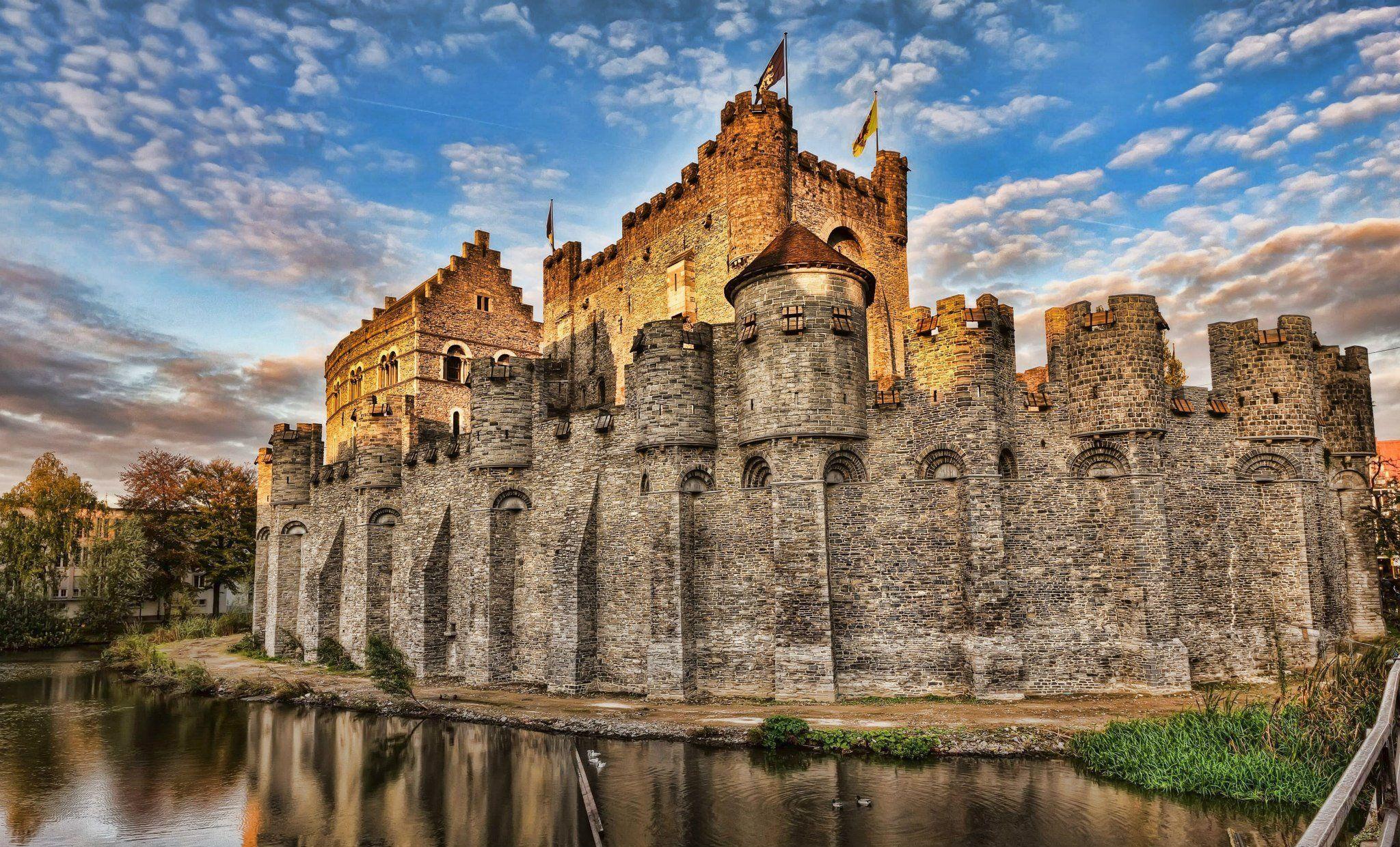 The Gravensteen Is A Castle In Ghent Belguim Originating