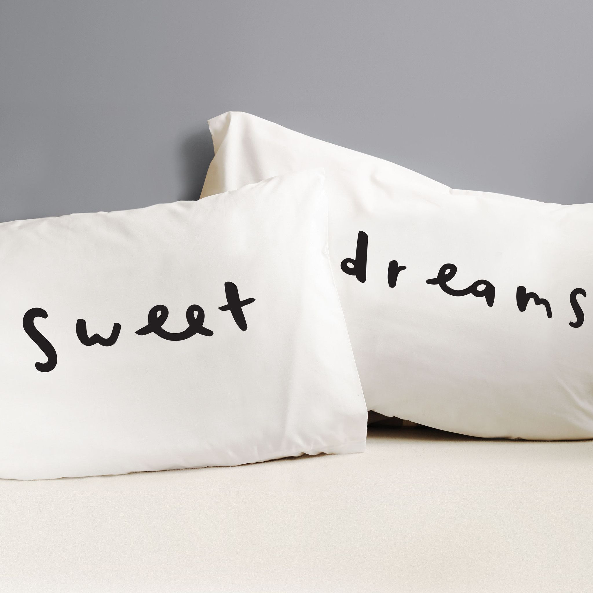 Sweet Dreams Pillow Cases  fun pillow case set  bed