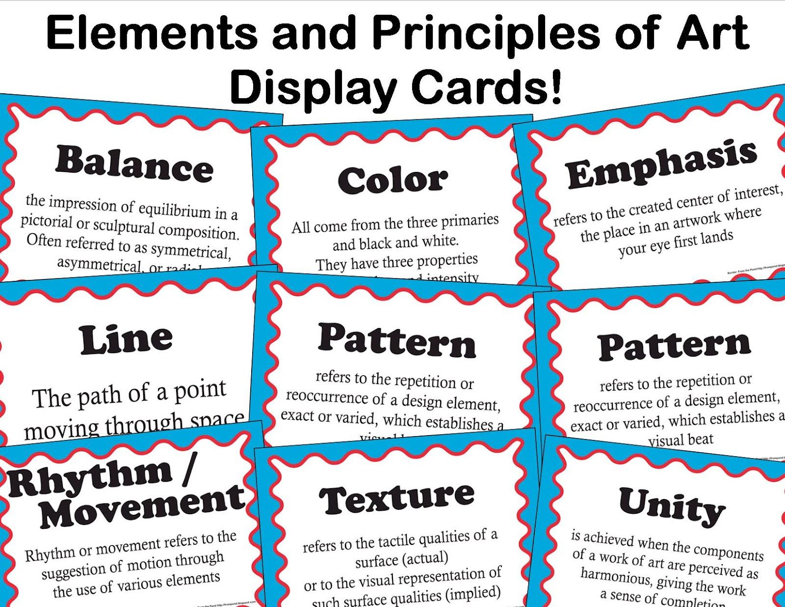 Elements And Principles Of Art Display Cards From Artful
