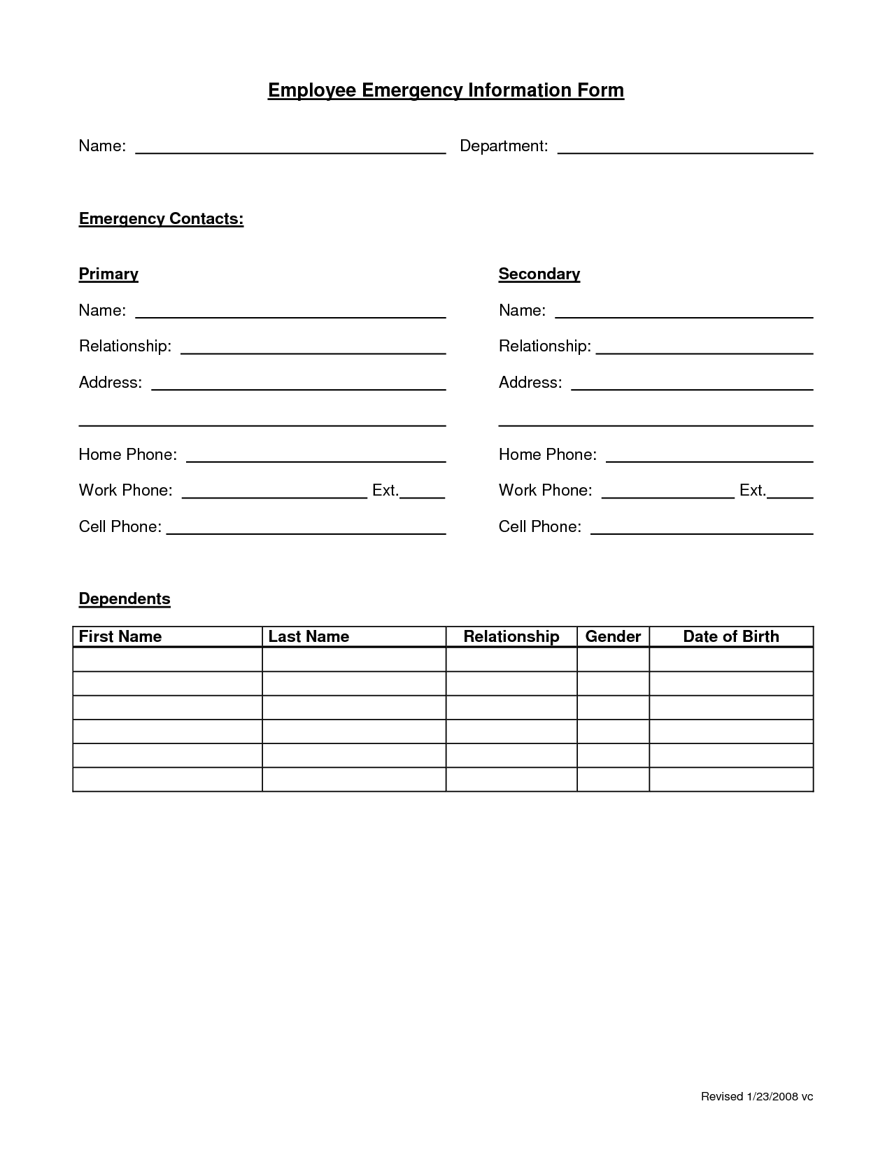 Employee Information Worksheet