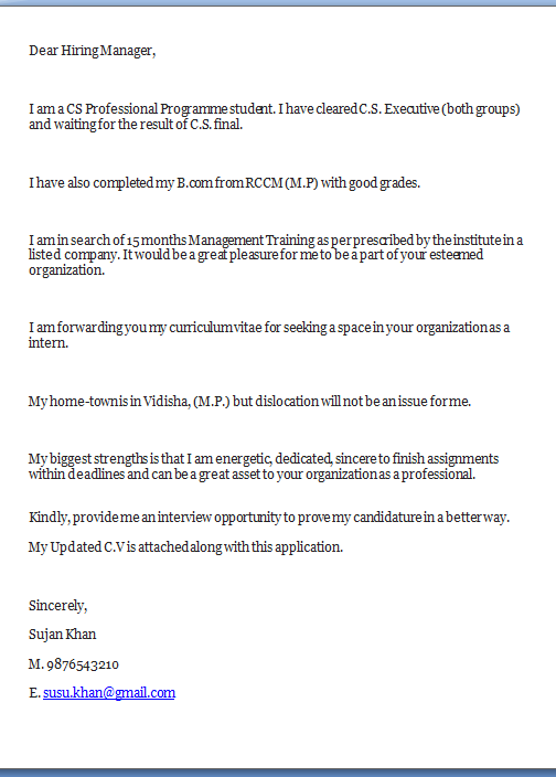 Cover Letter For Cs Articleship Andrian James Blog