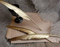 GOLD Feather pens set Wedding pen Gold Feather Pen by ...