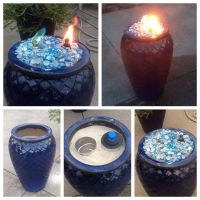 Made this fire pot using a ceramic flower pot, sand to ...