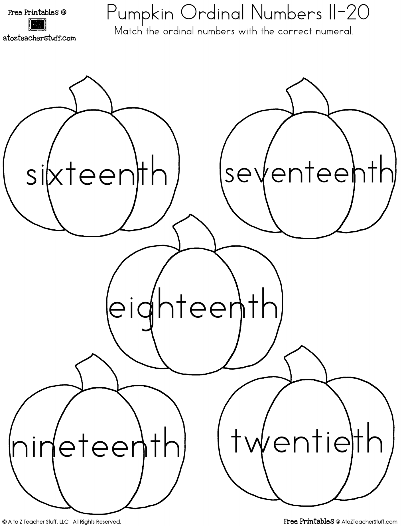 Pumpkin Ordinal Numbers 1 20