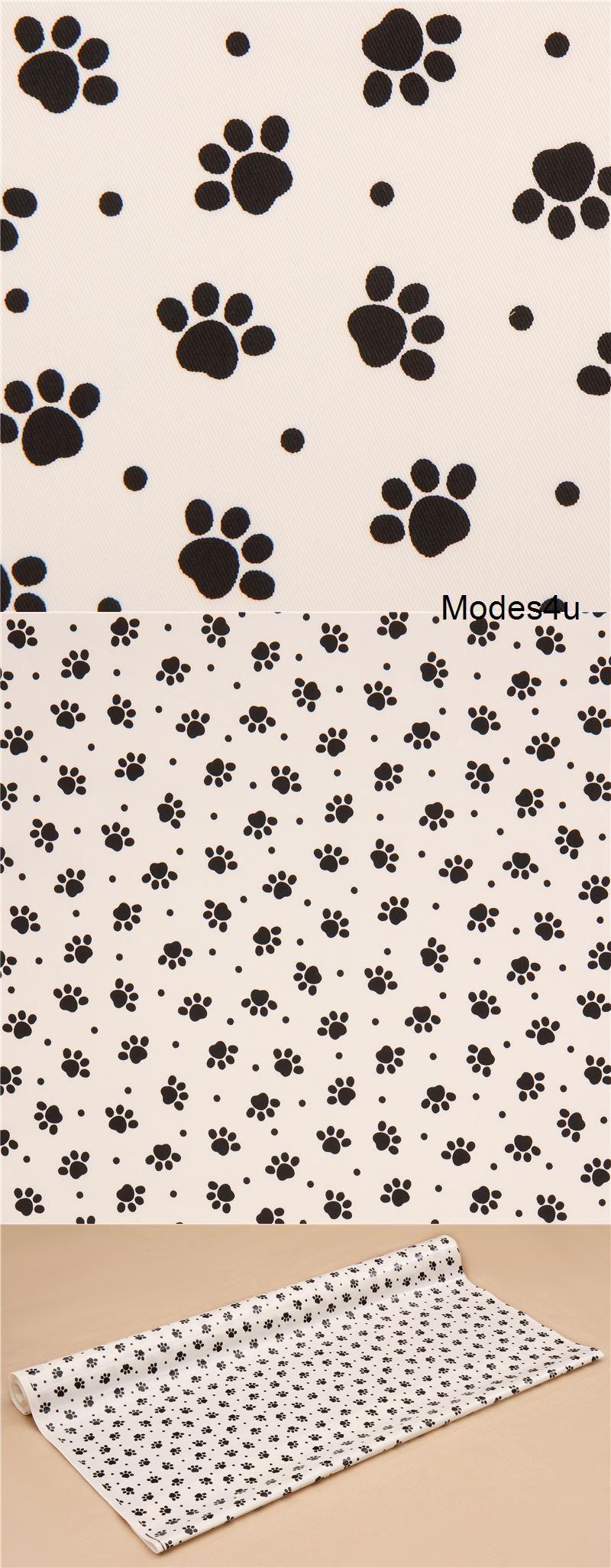 Grauweißer Schwarzer Tier Pfotenabdruck Laminat Stoff Aus Japan