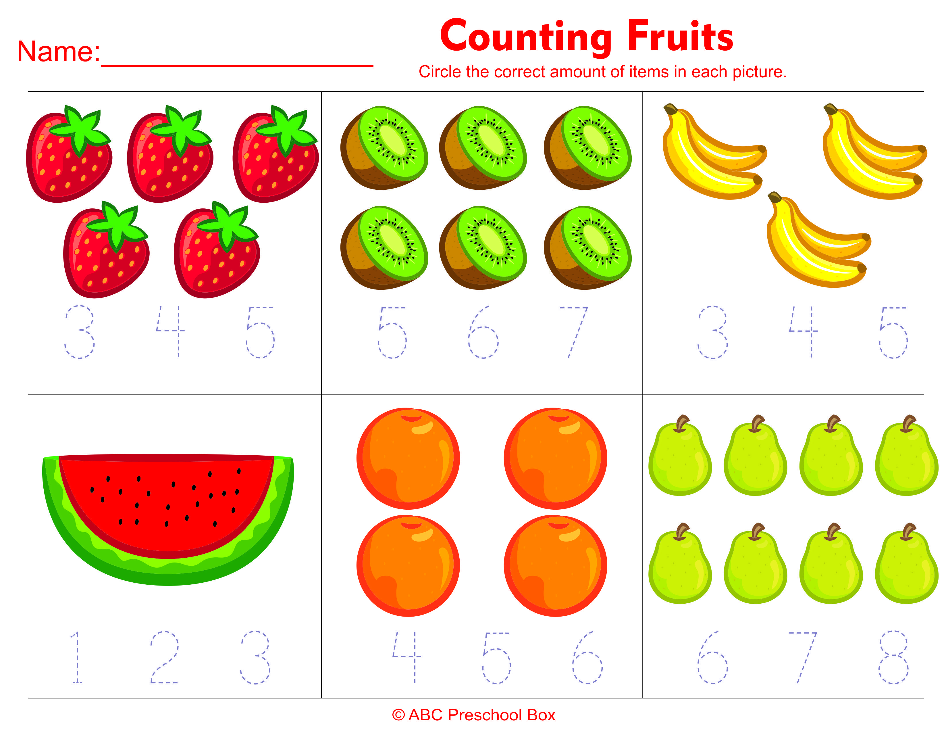 Counting Fruits Preschool Math Worksheet From