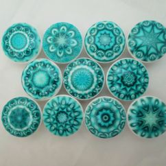 Blue Kitchen Cabinet Knobs Moveable Island Set Of 10 Aqua Mandala Mandalas