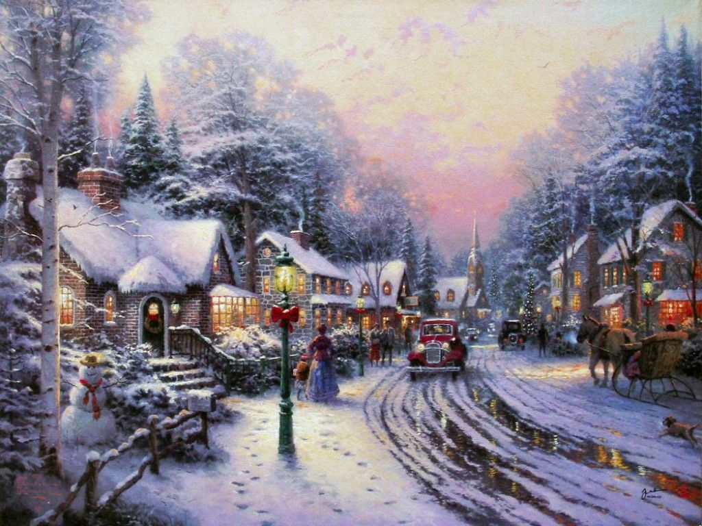 Christmas Wallpaper Kinkade Living Thomas
