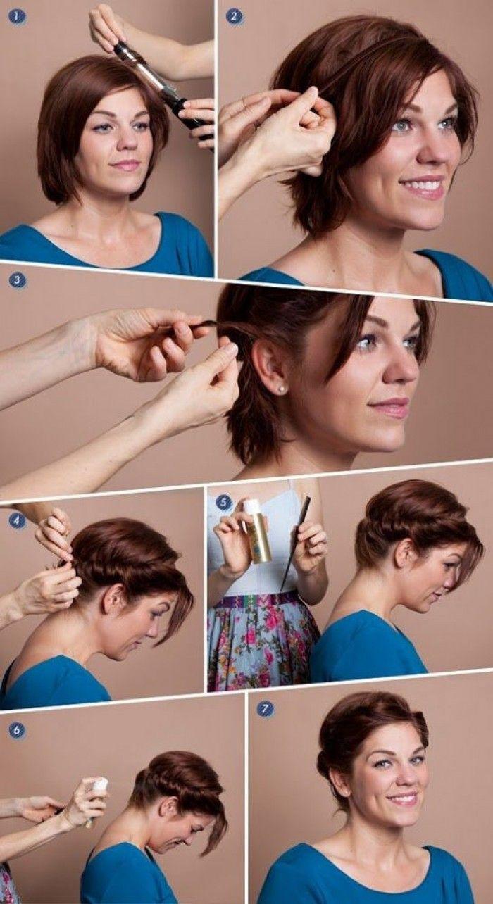 Schnelle Romantische Frisur Für Kurze Haare Haare Pinterest