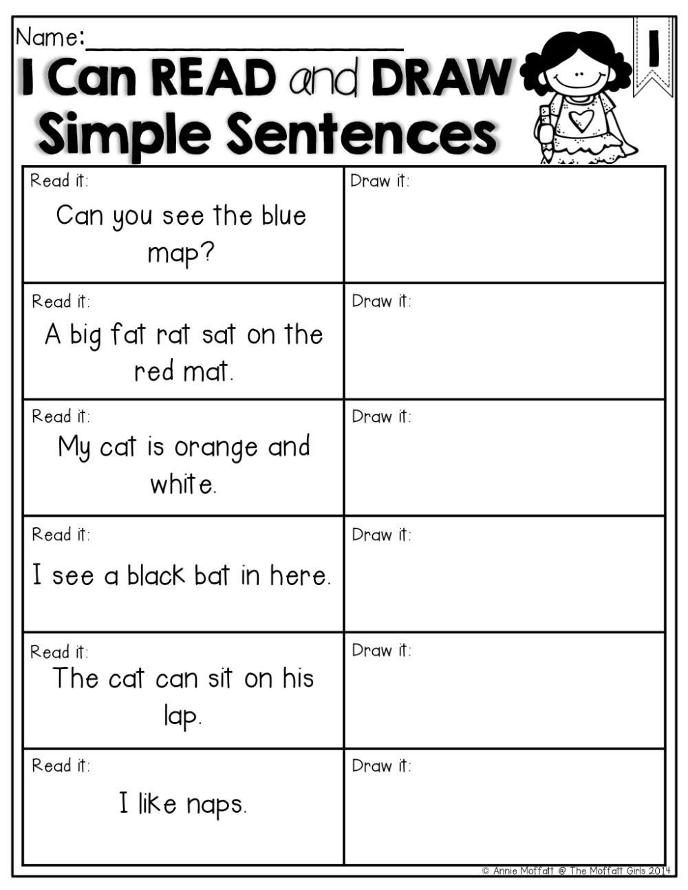 medium resolution of Simple Sentences For Grade 1